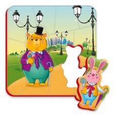 Magnesy piankowe puzzle Spacer niedźwiedź i zając
