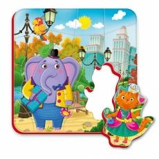 Magnesy piankowe puzzle Spacer słoń i kot