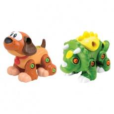 Rozkręcone zwierzaki piesek i dinozaur zielony