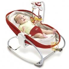 Wielofunkcyjny leżaczek-bujaczek-łóżeczko 3w1 do 18kg czerwony