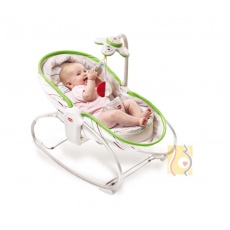 Wielofunkcyjny leżaczek-bujaczek-łóżeczko 3w1 do 18kg biało-zielony