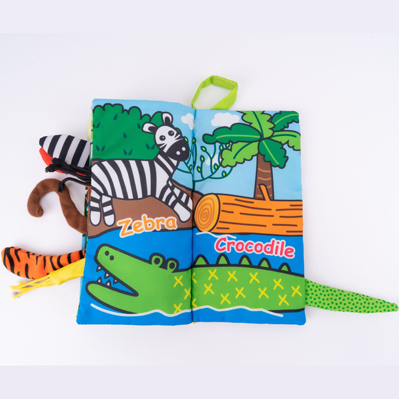 Jolly Baby Książeczka z ogonkami New jungle animal tail cloth book EN